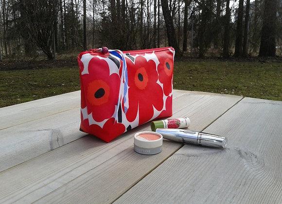 Waterproof makeup bag from Marimekko oilcloth fabric Unikko