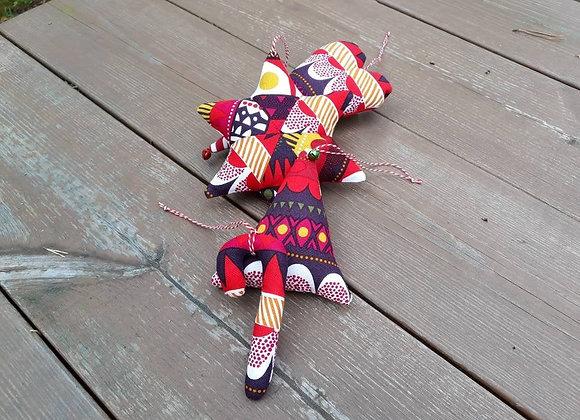 Modern Christmas ornaments from Marimekko fabric Raanu