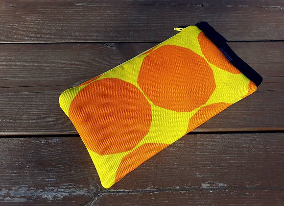 Orange zip pouch from Marimekko fabric Pienet Kivet