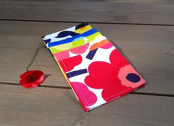Rainbow cloth napkins from Marimekko fabric Pieni Unikko