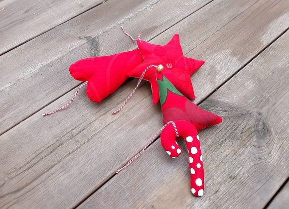Modern Christmas tree ornaments from Marimekko fabric