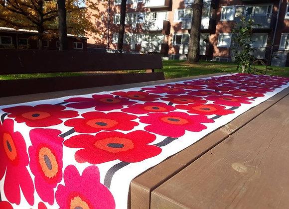 Floral table runner from Marimekko fabric Pieni Unikko