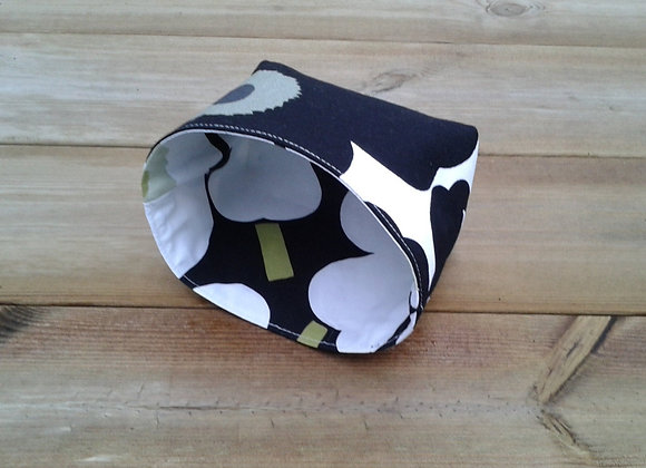 Black and white basket from Marimekko fabric Pieni Unikko