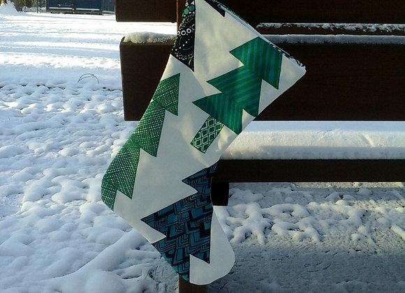 Green Christmas stocking from Marimekko fabric Kuusikossa