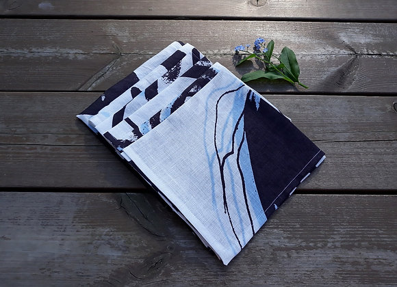 Black and white linen napkins from Marimekko fabric Kotona