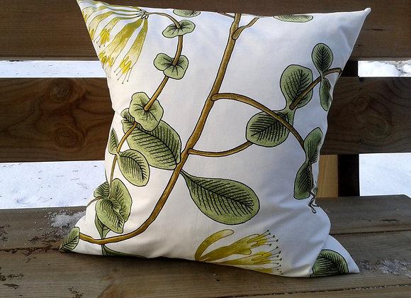Green yellow pillow cover from Marimekko fabric Kuusama