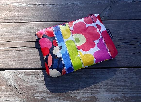 Rainbow waterproof patchwork zip pouch from Marimekko oilcloth fabric