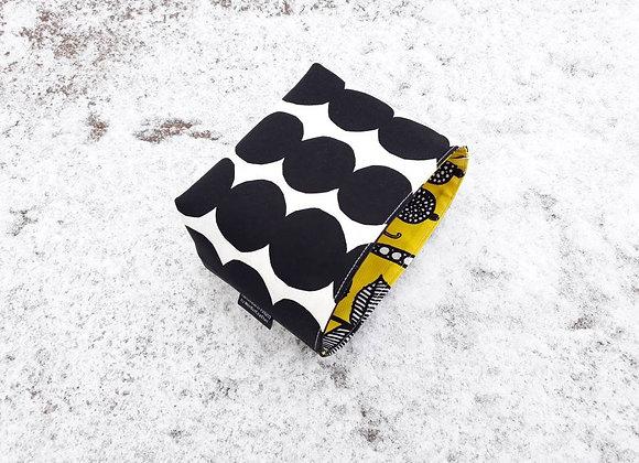 Small black and white waterproof basket from Marimekko fabric Rasymatto