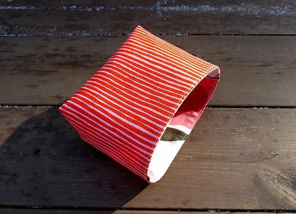 Orange basket from Marimekko fabric Varvunraita
