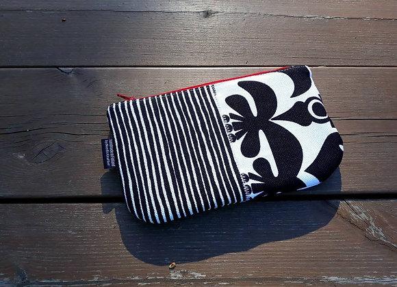 Black and white patchwork zipper wallet from Marimekko fabric