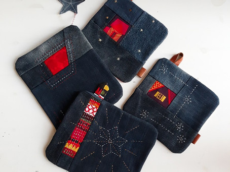 Christmas gifts from denim and scraps