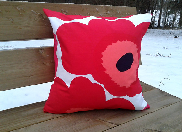 Red pink pillow cover from Marimekko fabric Unikko