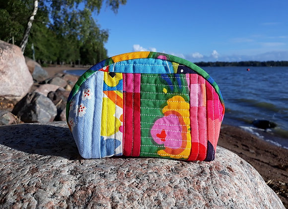 Quilted patchwork zipper pouch from Marimekko fabric