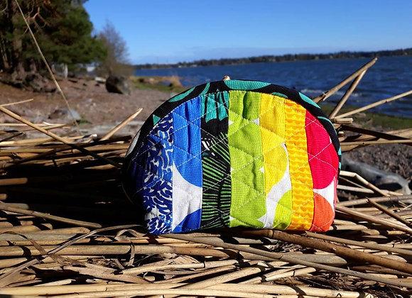 Rainbow quilted patchwork zipper pouch from Marimekko fabric