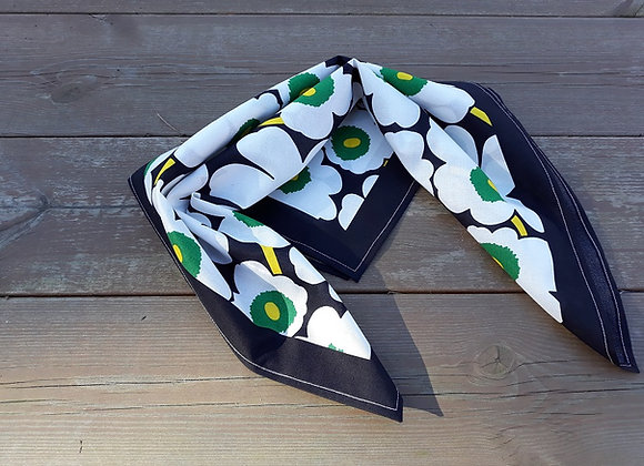 Black and white neck scarf from Marimekko fabric mini Unikko