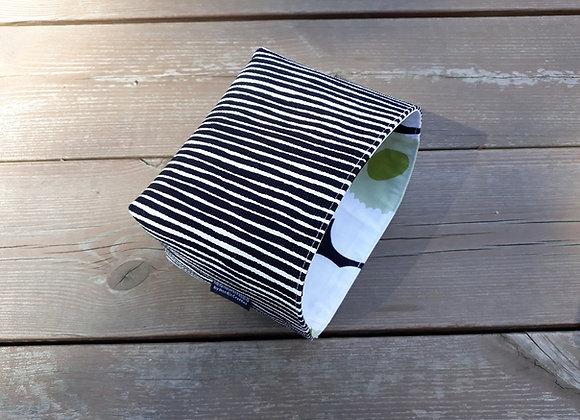 Black and white basket from Marimekko fabric Varvunraita