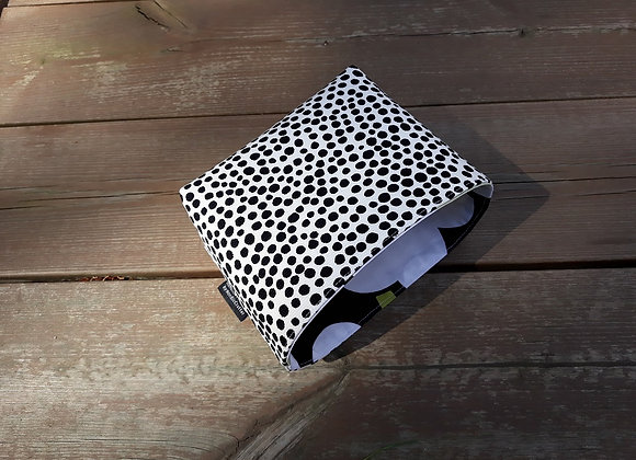 Black and white basket from Marimekko fabric Pirput parput