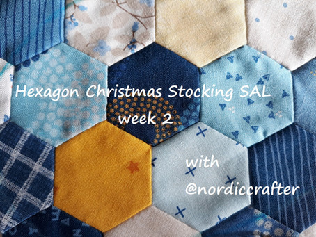 Hexagon Christmas stocking SAL, week 2. Sewing front panel