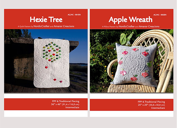 Hexie Tree Quilt and Apple Wreath Pillow Patterns, LETTER format