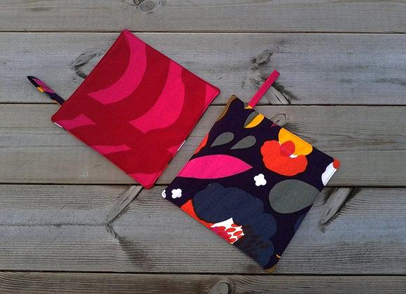 Pot holders from Marimekko fabric Hattarakukka and Rautasänky