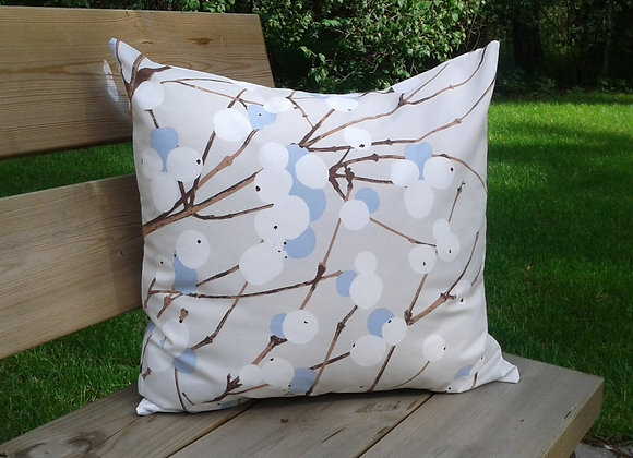 Neutral pillow cover from Marimekko fabric Lumimarja