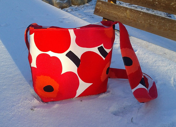 Red cross body bag from Marimekko fabric Pieni Unikko