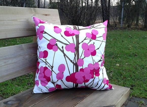 Pink pillow cover from Marimekko fabric Lumimarja