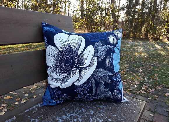 Blue pillow cover from Marimekko fabric Oodi