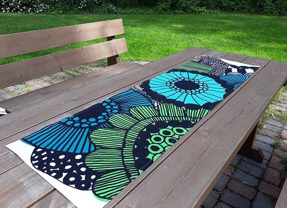 Green blue table runner from Marimekko fabric Siirtolapuutarha