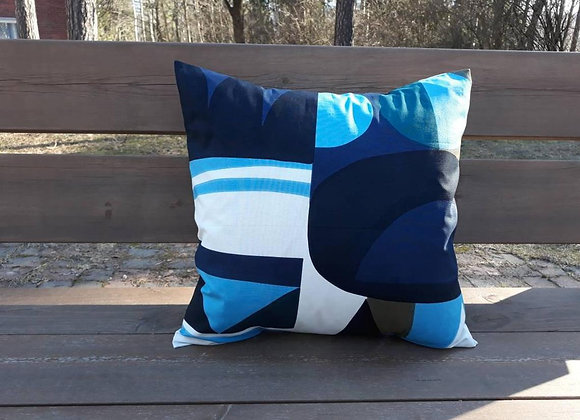 Blue geometric pillow cover from Marimekko fabric Kuunsade