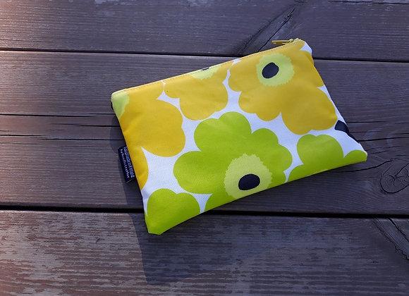 Small waterproof makeup bag from Marimekko oilcloth fabric Unikko