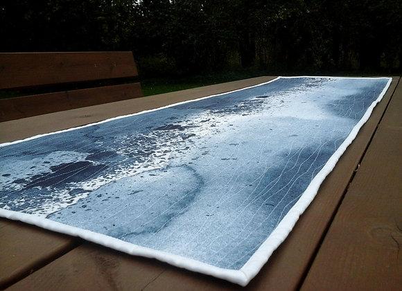 Gray table runner / wall hanging from Marimekko fabric Luovi