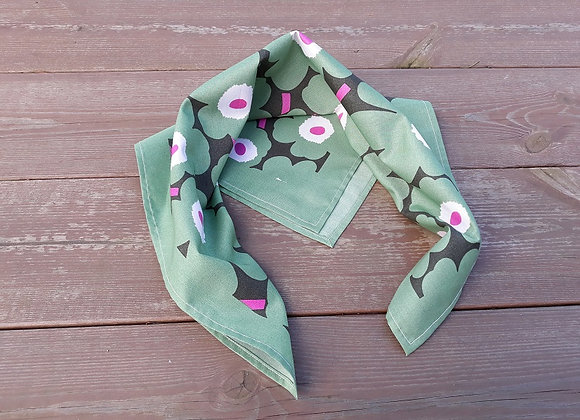 Green pink neck scarf from Marimekko fabric mini Unikko