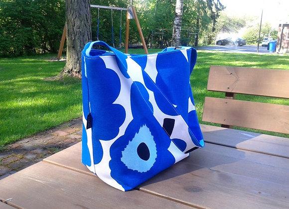 Blue shoulder bag from Marimekko fabric Pieni Unikko