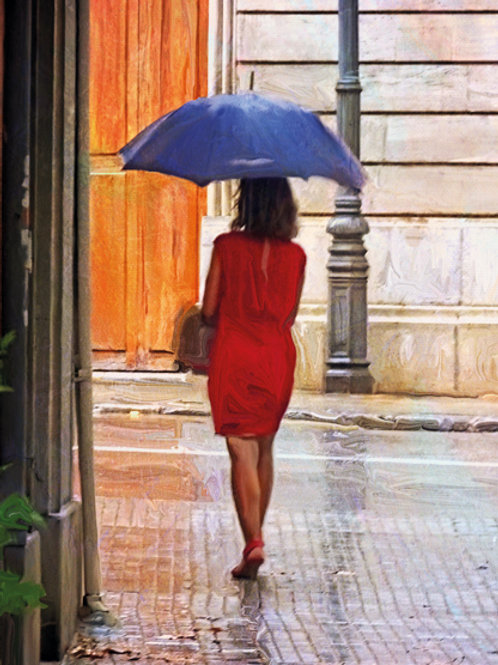 Dame mit blauem Schirm