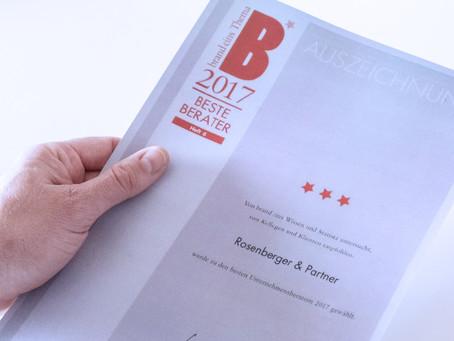 """Beste Berater 2017"" – Rosenberger+Partner schafft den Hattrick"
