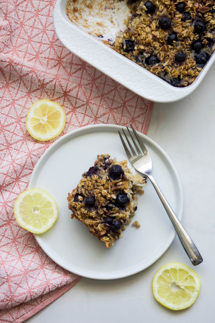 Lemon Blueberry Oatmeal Bake