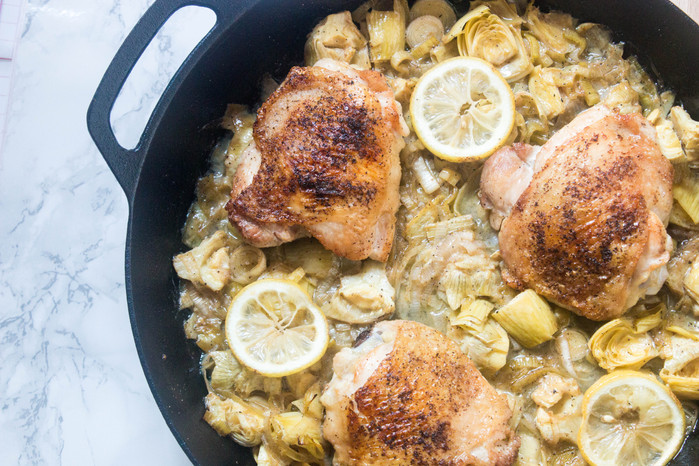 Crispy Chicken with Artichoke & Leeks
