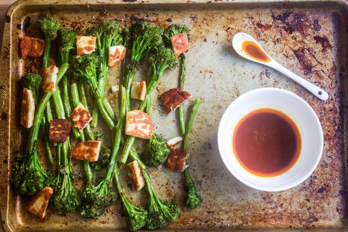 Roasted Broccolini with Crispy Halloumi & Harissa Vinaigrette