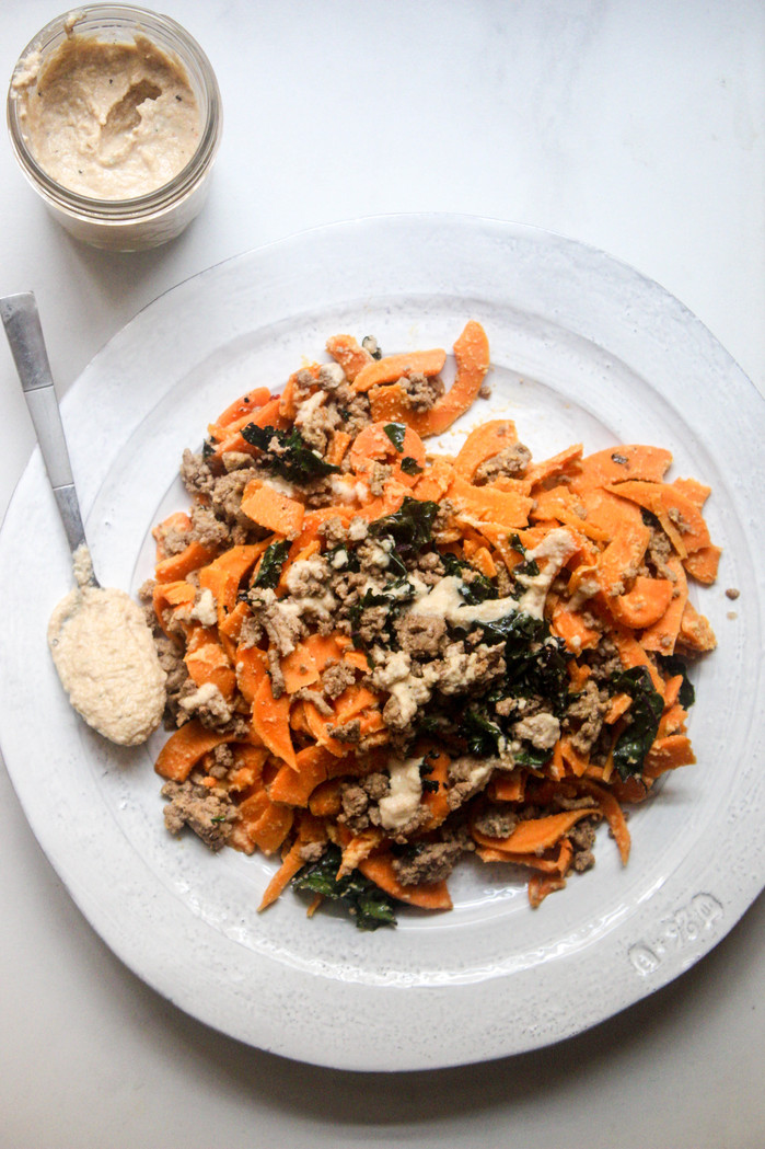 Sweet Potato Noodles with Roasted Garlic Cashew Cream Sauce and Spicy Turkey