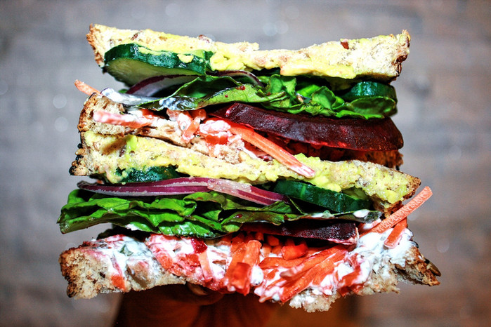 Beet and Veggie Sandwich with Herb Yogurt Sauce