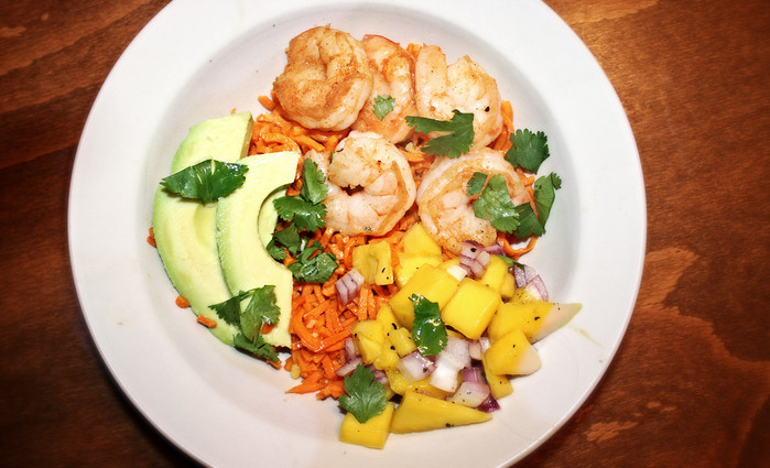 Shrimp and Sweet Potato Rice Bowl & Why a Tropical Dish Makes Me Miss NYC