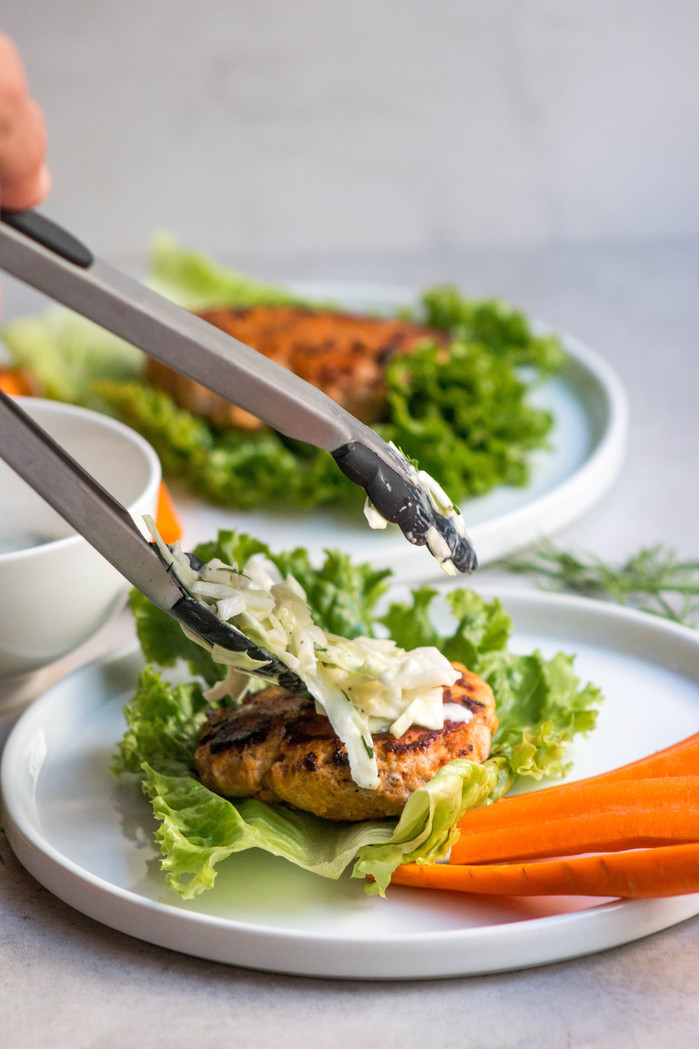 Buffalo Chicken Burgers with Creamy Herb Slaw