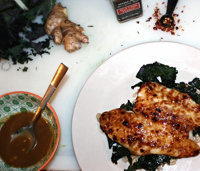 Miso Cod with Garlic Red Kale