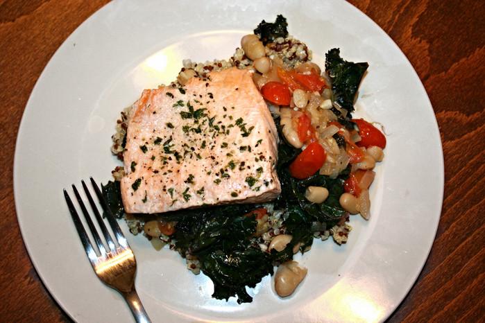 Poached Salmon with Tomato, Kale, and White Bean