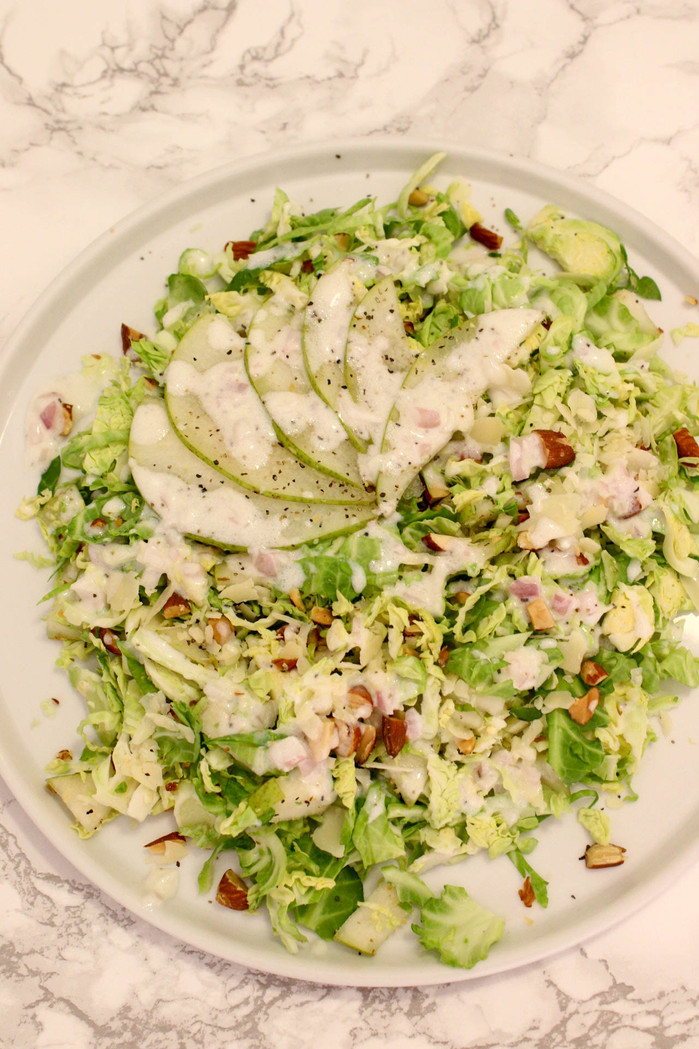Shaved Brussels Sprout Salad with Citrus Shallot Vinaigrette