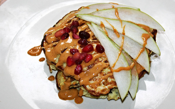 3 Ingredient Pancakes with Pear and Pomegranate
