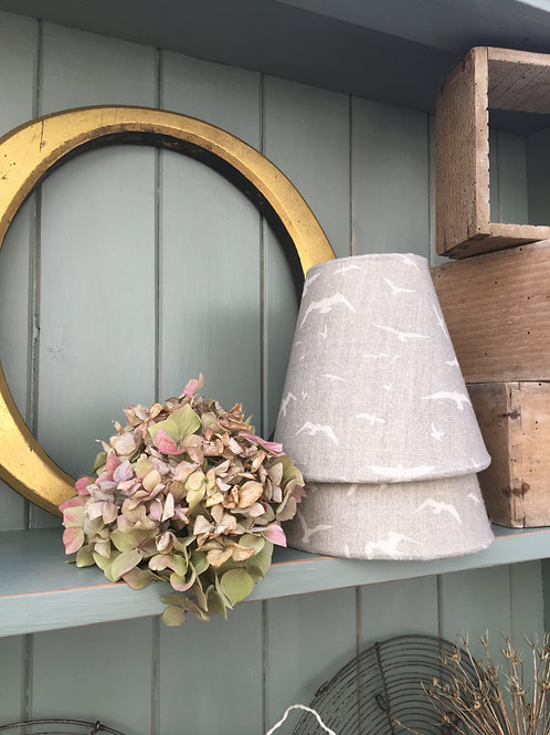 A Pair of Candle Shades in Peony & Sage Grey Seagulls Linen