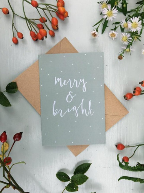 Merry & Bright Christmas Cards (Pack of 5 cards)