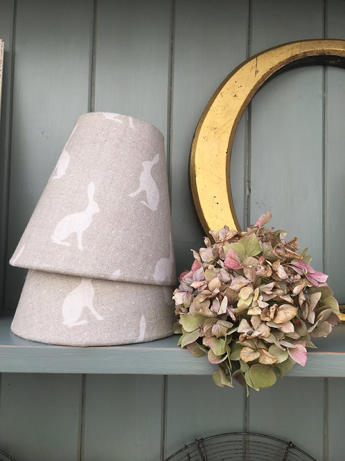 A Pair of Candle Shades in Peony & Sage Mini Hares